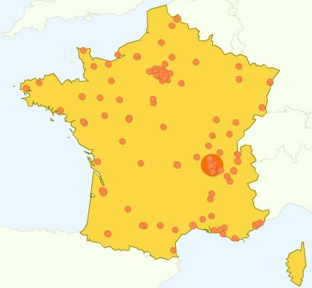 Densité des connexions depuis la France